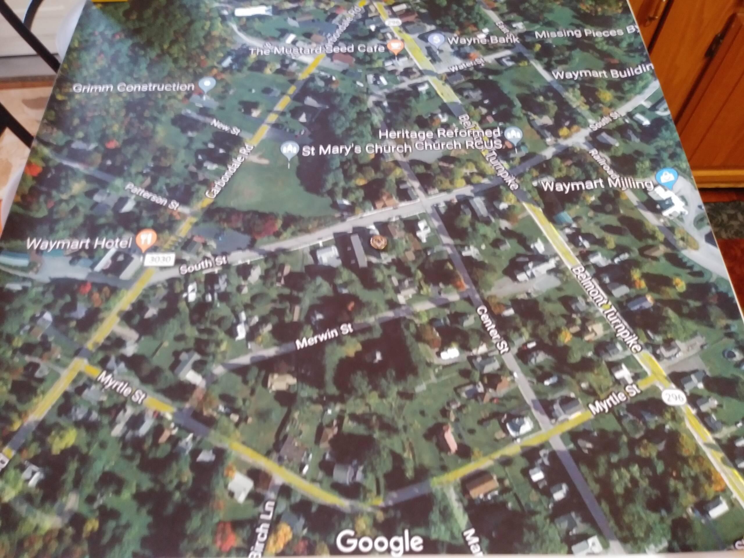 Google Maps layout of the surrounding streets around Waymart Lodge